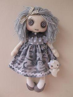"Handmade 12"" GOTHIC GREY GHOST little girl Cloth Rag Doll by LITTLE DARK DOLLIES"