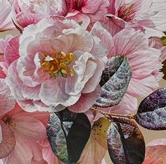 My paintings are rich in symbolic meaning and engage with notions of the sublime. The tenuous and fragile sakura (cherry blossom) reminds us that life while overwhelmingly beautiful is tragically short.  Detail from Malurus cyaneus. Divine Augur and Bird of Bright Cheer 2017. http://ift.tt/2tw3w8c - #gatesofparadise #floriography #melbourneartist #gbartconsulting #australianartist #oilonlinen #oilpainting #contemporaryart #sakura #cherryblossom #pink #botanicalart #annemiddleton