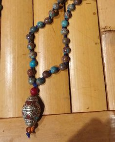 This is a turquoise Jasper Mala with 108 beads , separated every bead by baltic amber. The findings are all sterling silver. The guru bead is a beautiful Tibetan bead. Turquoise Necklace, Beaded Necklace, Jasper, Jewellery, Trending Outfits, Unique Jewelry, Handmade Gifts, Etsy, Vintage