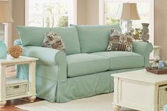 Features This slipcover loveseat is the perfect addition to your beach themed decor. With anchor and life float designs on the pillow and perfect seafoam color,