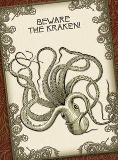 Beware the Kraken - Victorian Steampunk Octopus Collage - Digital Card 002. $3.30, via Etsy.