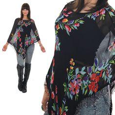 70s Boho Shawl top Sheer Shawl Beaded shawl Black shawl top Floral blouse Bohemian shawl Festival shawl Hippie shawl Blouse Sheer top by SHABBYBABEVINTAGE on Etsy