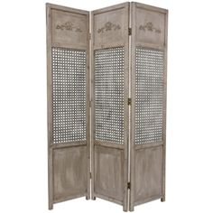 This distressed wood and metal room divider is perfect for adding a distinctive, urban accent to lofts, studios, or professional offices. Each panel of this sturdy, solid wood divider sports a bas relief at the top, a textured metal lattice in the middle, and a practical kick plate at the bottom.