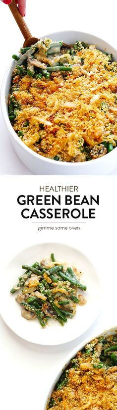 Lighten up Green Bean Casserole this year with this easy recipe!  It's simple to make, and my family loves it! | http://gimmesomeoven.com