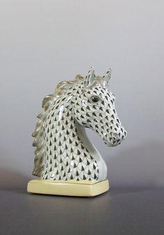 Herend Porcelain Black Fishnet #Horse Head Bust 15715  #Herend