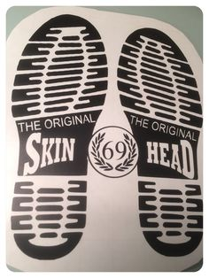 Dr Martens boot prints with skinhead 69 logo bespoke design comes in various sizes and colours Skinhead Boots, Skinhead Girl, Skinhead Fashion, Skinhead Style, Dr. Martens, Jigsaw Tattoo, Skinhead Tattoos, Reggae Art, Skinhead Reggae