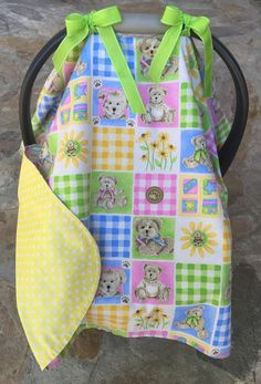 Teddy bear patchwork quilt style yellow polka dot by BBsBanners