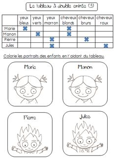 lire et compléter un tableau à double entrée - *Delfynus* Teaching Schools, Teaching Activities, Educational Activities, Teaching Math, Teaching Resources, Core French, French Class, French Teacher, Teaching French