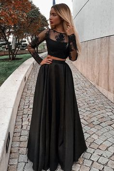 Modest Two Pieces Long Sleeves Black Prom Dress with Appliques, Shop plus-sized prom dresses for curvy figures and plus-size party dresses. Ball gowns for prom in plus sizes and short plus-sized prom dresses for Prom Dresses Two Piece, Prom Dresses Long With Sleeves, Elegant Prom Dresses, Black Prom Dresses, Grad Dresses, Cheap Prom Dresses, Prom Party Dresses, Trendy Dresses, Homecoming Dresses