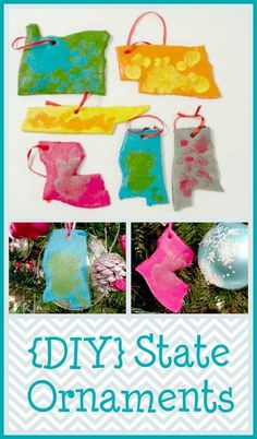 DIY State Ornaments: Honor a loved one with this kid-made gift