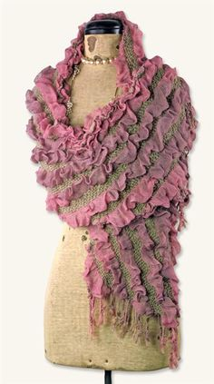 MAUVE RUFFLES SCARF - Ombre hues of a late September sunset mingle with softest pewter yarns. $4.99!
