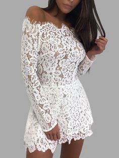 White Lace Details Off The Shoulder Long Sleeves Dress