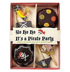 "A great Cupcake Kit ""Yo Ho Ho! It's a Pirate Party"" from Meri Meri for a pirate party features 12 each of two styles of cupcake cases and 6 each of 4 styles of cupcake topper. This pirate-themed kit c"