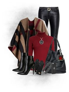 """Black with Red Poncho Outfit"" by sgolis ❤ liked on Polyvore featuring Yves Saint Laurent, Burberry, Rumour London, christopher. kon, Gucci, Mulberry, women's clothing, women, female and woman"