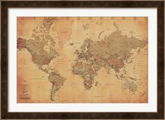 Map of the World, vintage (mercator projection) at FramedArt.com