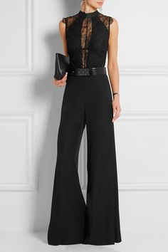 I.D. Sarrieri | Amelie georgette-trimmed Chantilly lace bodysuit | NET-A-PORTER.COM