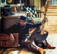 Marcus Miller with his signature bass by Sire guitars.