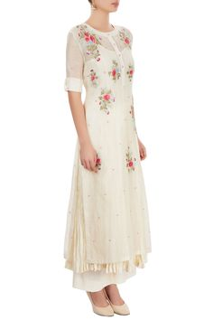 Buy White palazzo set with thread embroidery by PRAMA by Pratima Pandey at Aza Fashions Simple Kurti Designs, Salwar Designs, Dress Neck Designs, Blouse Designs, Sewing Clothes Women, Clothes For Women, Diy Clothes, Indian Dresses, Indian Outfits