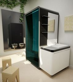 Bathroom. Spectacular Futuristic Modern Bathroom Style. White Futuristic Bathroom Features Black and White Wall Mounted Shower Box with Black and White Vanity Sink and Wall Rectangle Mirror and also White Box Chairs