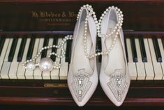 Art Deco Bridal Shoes - A Speakeasy-Inspired Wedding Styled Shoot Speakeasy Wedding, 1920s Speakeasy, Gatsby Wedding, Wedding Engagement, Engagement Photos, Party Like Gatsby, Chic Vintage Brides, 1920s Art Deco, Bridal Shoes