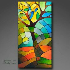 Abstract tree art, contemporary abstract art for sale, geometric abstract giclee prints on stretched canvas from my original painting Summer Tree by Sally Trace Tree Of Life Painting, Abstract Tree Painting, Tree Of Life Art, Geometric Painting, Abstract Wall Art, Tree Art, Sailboat Painting, Painting Canvas, Contemporary Abstract Art