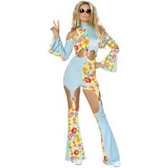 Hippie Go Go Dancer Flower Catsuit Halloween Costume ($97) ❤ liked on Polyvore featuring costumes, white halloween costumes, hippie halloween costumes, hippy costume, sexy hippie costume and flower halloween costume