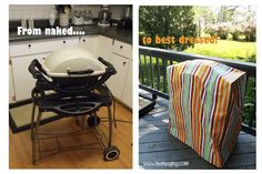 I want to make one for the kids grill Diy Bags No Sew, Diy Grill, Bbq Cover, Vinyl Tablecloth, Backyard Bbq, Patio, Outdoor Living, Outdoor Decor, Outdoor Ideas