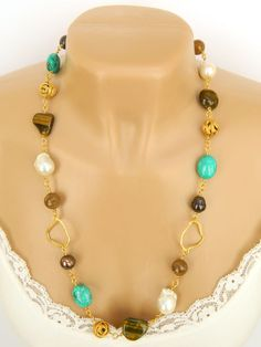Beaded Gemstone and Pearl Necklace Handcrafted Gold Long Chunky by BlondePeachJewelry on Etsy