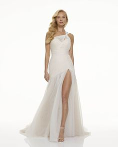 The new Mark Zunino wedding dresses have arrived! Take a look at what the latest Mark Zunino bridal collection has in store for newly engaged brides. Wedding Dress With Feathers, Wrap Wedding Dress, Wedding Jumpsuit, Tulle Wedding, Dream Wedding, Mark Zunino Wedding Dresses, Sexy Wedding Dresses, Lace Ball Gowns, Tulle Ball Gown