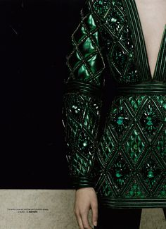 """Balmain embraces Pantone's 2013 Color of the Year with this F/W 2013 Embroidered Emerald Dress, as seen in ELLE UK Collections F/W 2013 """"Objects of Desire,"""" styled by Lisa Rahman."""