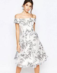 Image 1 ofChi Chi London Off Shoulder Midi Dress in Organza