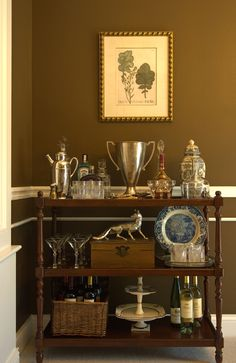 bar cart with trophy