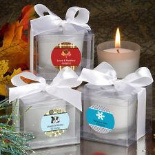 60 - Personalized Winter Themed Wedding Candle Favors