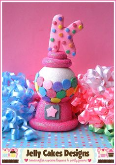 Happy Birthday Gumball Machine Keepsake Cake por jellycakesdesigns, $38.00
