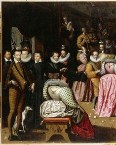 Bal à la cour de Henri III, dit autrefois Bal du duc d'Alençon. RARE back views of gowns