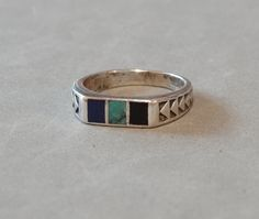 Vintage Turquoise Lapis Lazuli Onyx Ring Sterling Silver Navajo Native American Wedding Band Size 5.5 Signed Teme