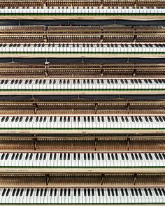 Piano Keyboards in the Polishing Department at the Steinway Piano Factory in Astoria, Queens, NYC