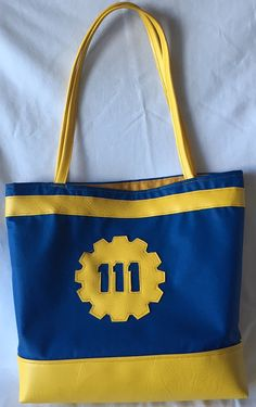Fall Out 4 Vault 111 Vinyl Tote by FlatCatShop on Etsy Vault 111, Fall Out 4, Vaulting, Goodies, Reusable Tote Bags, Smile, Pocket, Cat, Yellow