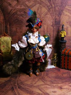 OOAK Dollhouse Miniature 5.5 inch Poseable Doll by LoreleiBlu, $98.00