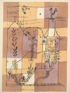 Escena Hoffmannesque (Hofmanneske Szene)  Paul Klee (alemán (nacido en Suiza), Münchenbuchsee 1879-1940 Muralto-Locarno)  Fecha: 1921 Medio: Litografia de oro, marrón, marrón y negro Dimensiones: placa: 14 3/4 x 10 7/16 pulgadas (37,5 x 26,5 cm) Clasificación: Prints Línea de crédito: Legado de Scofield Thayer, 1982
