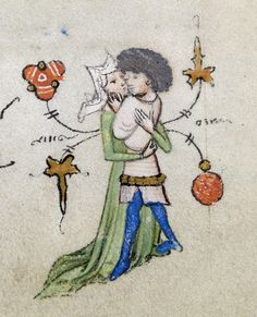 jothelibrarian: Pretty medieval manuscript of the day depicts a tender embrace. Read more about this manuscript on the Walters Museum website. Image source: Walters Museum MS Image declared as public domain via Wikimedia Commons. Medieval Life, Medieval Art, Illuminated Letters, Illuminated Manuscript, Renaissance, Late Middle Ages, Book Of Hours, Medieval Manuscript, Doodles