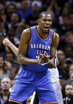 Oklahoma City's Kevin Durant (35) reacts to a charge call during Game 1 of the Western Conference Finals in the NBA playoffs between the Oklahoma City Thunder and the San Antonio Spurs at the AT&T Center in San Antonio, Monday, May 19, 2014. Photo by Sarah Phipps, The Oklahoman