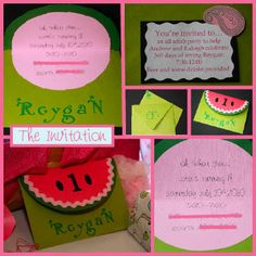 Watermelon invites for my family and D's friends who won't be getting a Facebook event invite