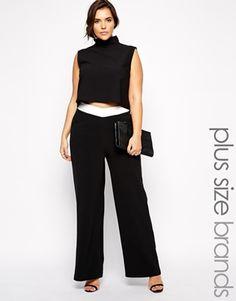 Pantalones de pernera ancha con cinturilla en contraste de Paper Dolls Plus