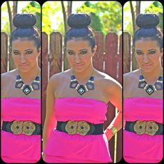 Our Hot Pink Peplum dress WITH the blck/gold belt! http://www.calicloset.com/#!product/prd1/147097451/strapless-peplum-dress-