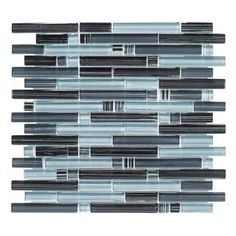 Jeffrey Court Blue Zephyr Pencil 12 in. x 12 in. x 8 mm Glass Mosaic Wall Tile-99172 - The Home Depot