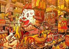 Supersize Them: Mr. Misang Imagines What Fast Food Characters Would Look Like If… Supersize Them: Mr. Misang Imagines What Fast Food Characters Would Look Like If They Ate Their Restaurant's Food Tachisme, Wassily Kandinsky, Food Illustrations, Illustration Art, Illustrator, Colonel Sanders, Pop Art Wallpaper, Arte Cyberpunk, Fast Food Chains