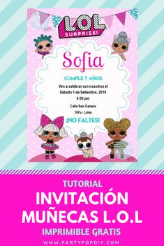 25 Ideas For Birthday Party Invitations Printable Surprise Free Printable Party Invitations, Surprise Birthday Invitations, Cool Birthday Cards, 4th Birthday Parties, Digital Invitations, Birthday Ideas, Fete Emma, Doll Party, Lol Dolls