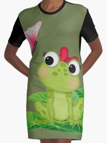 Cute Girl Frog 2 Graphic T-Shirt Dress