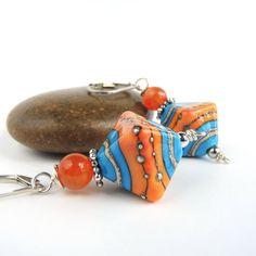 Bright Orange and Blue Lampwork Glass Earrings by PebblesAtMyFeet